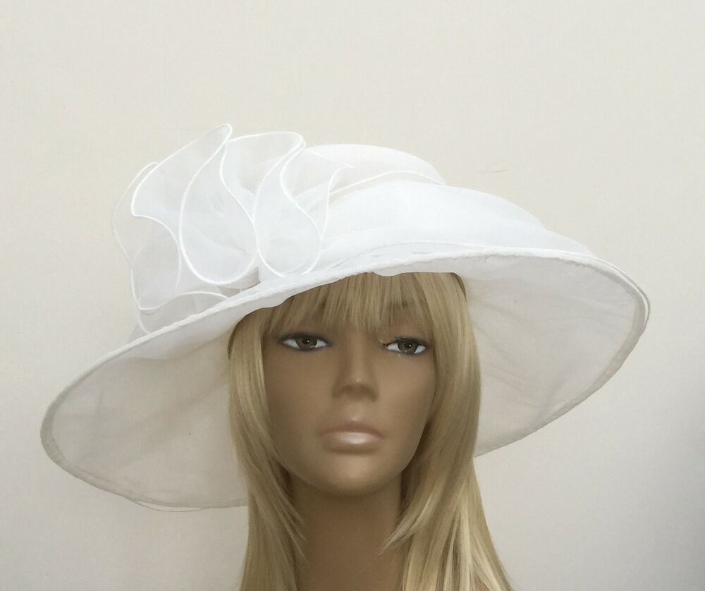 New Women's Pale Off White Organza Wedding Hat Mother Of