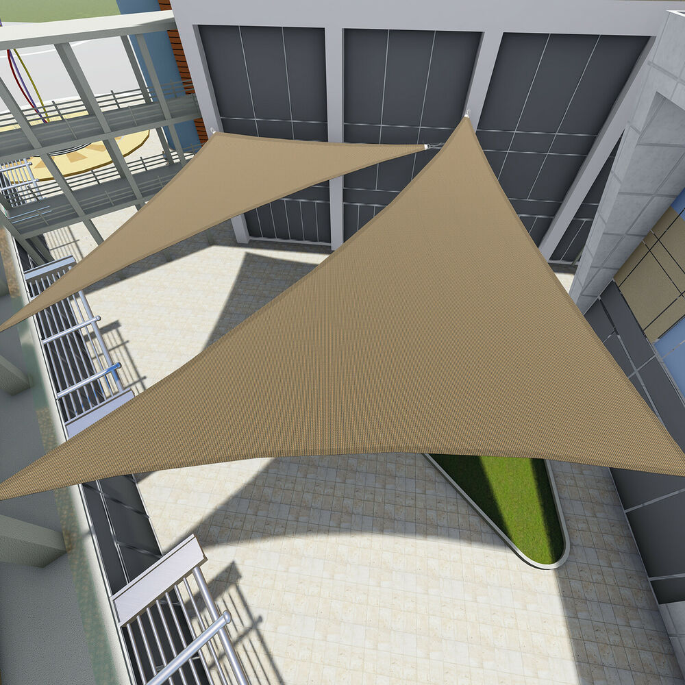 Sun Shade Sail Triangle Permeable Canopy Brown Beige Blue