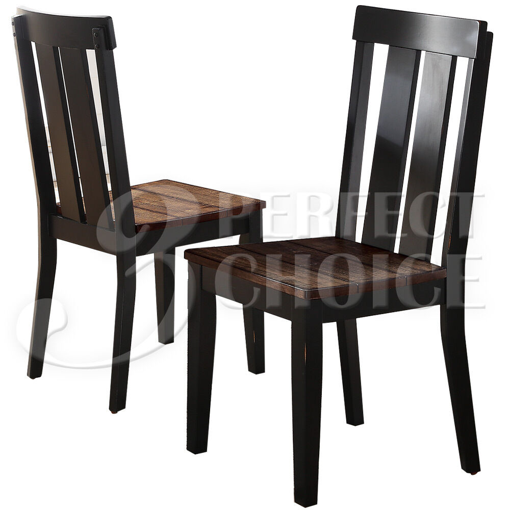dark oak dining chairs set of 2 dining side chairs rustic distressed wood seating 6448