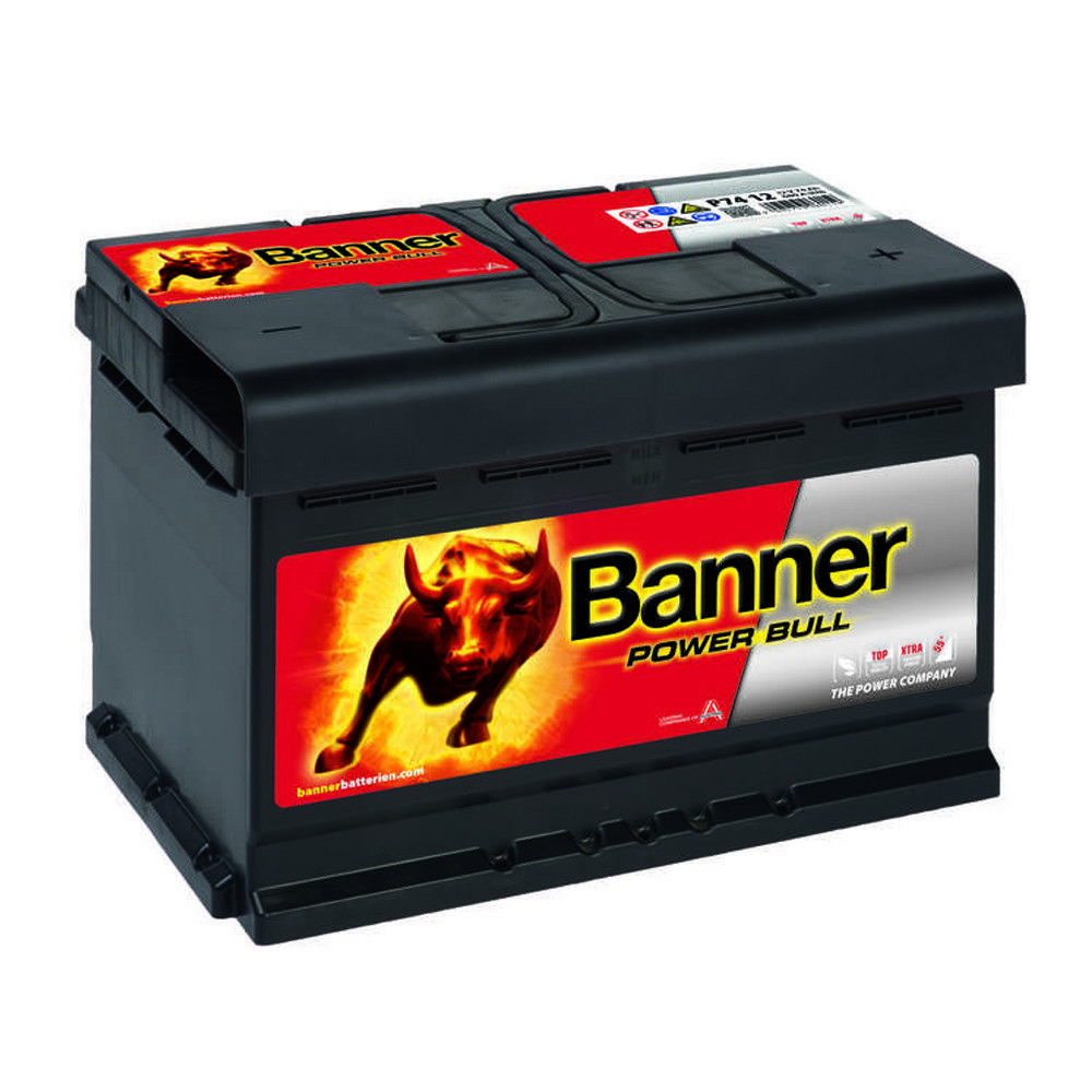 banner power bull 12v 74ah autobatterie batterie p7412. Black Bedroom Furniture Sets. Home Design Ideas