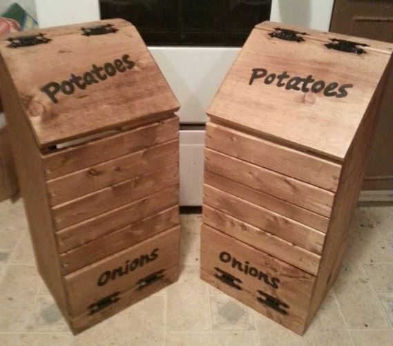 Good Kitchen Vegetable Box Wooden Potato Onion Bin Rustic Storage Space Saver  Wood
