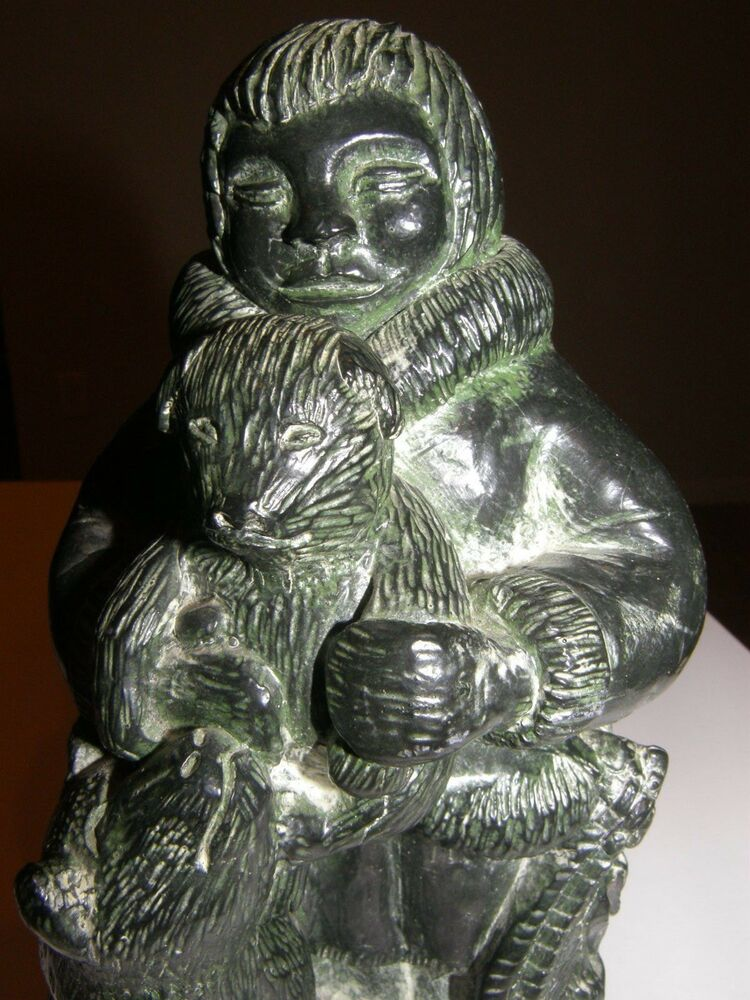 Vtg a wolf original the sculpture statue seal eskimo