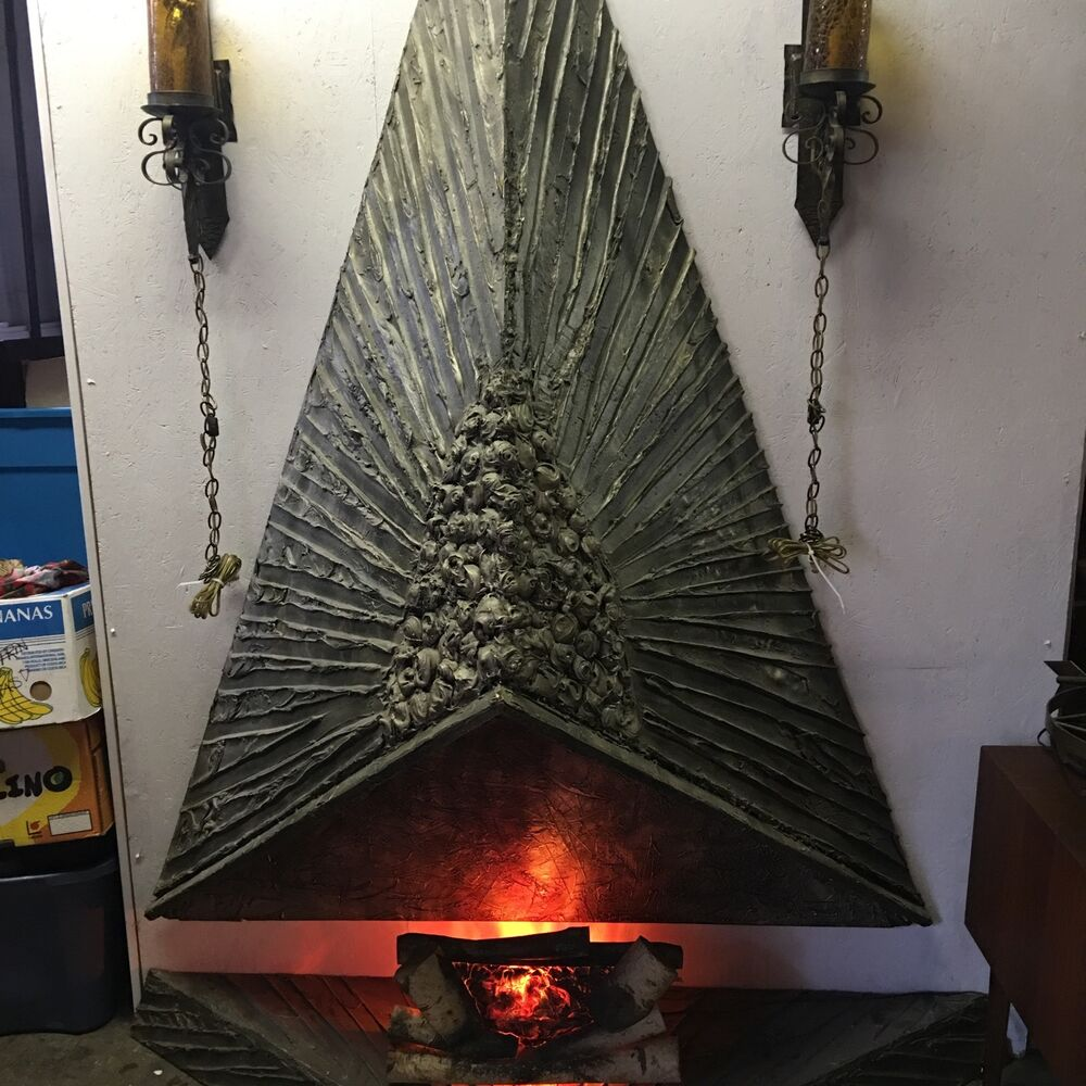 Mid Century Adrian Pearsall Brutalist Electric Fireplace Rare Ebay