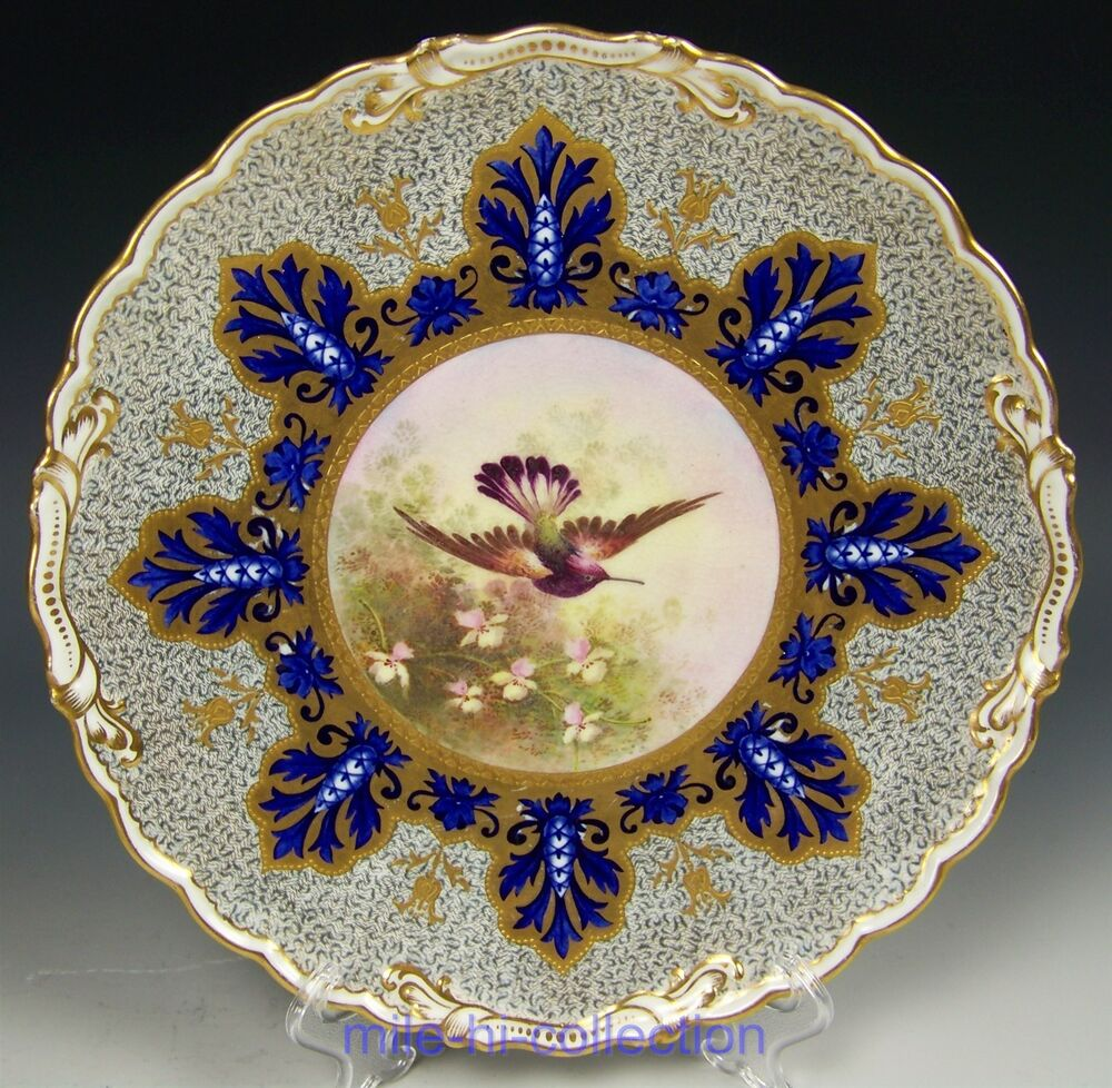 Hand Painted Plates : Lovely coalport hand painted bird raised gold cabinet
