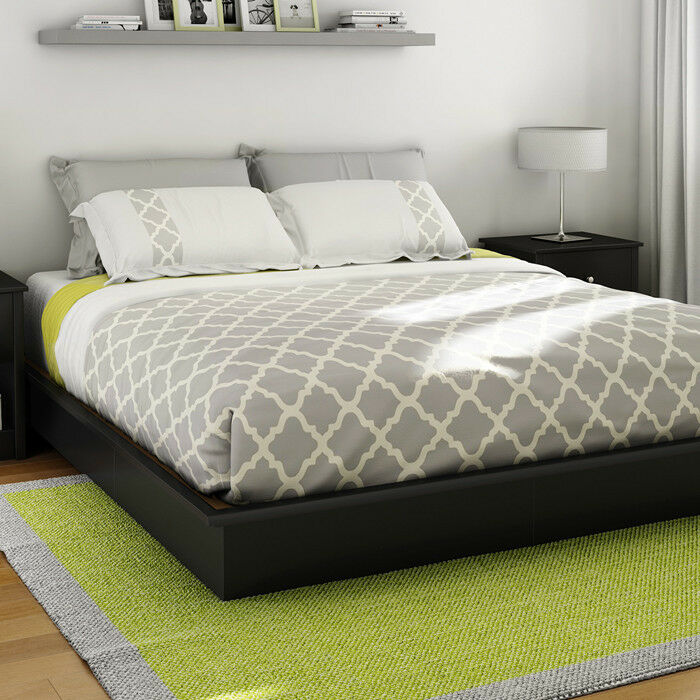 Platform bed frame full queen king size sizes black color for What size bed for a 10x10 room