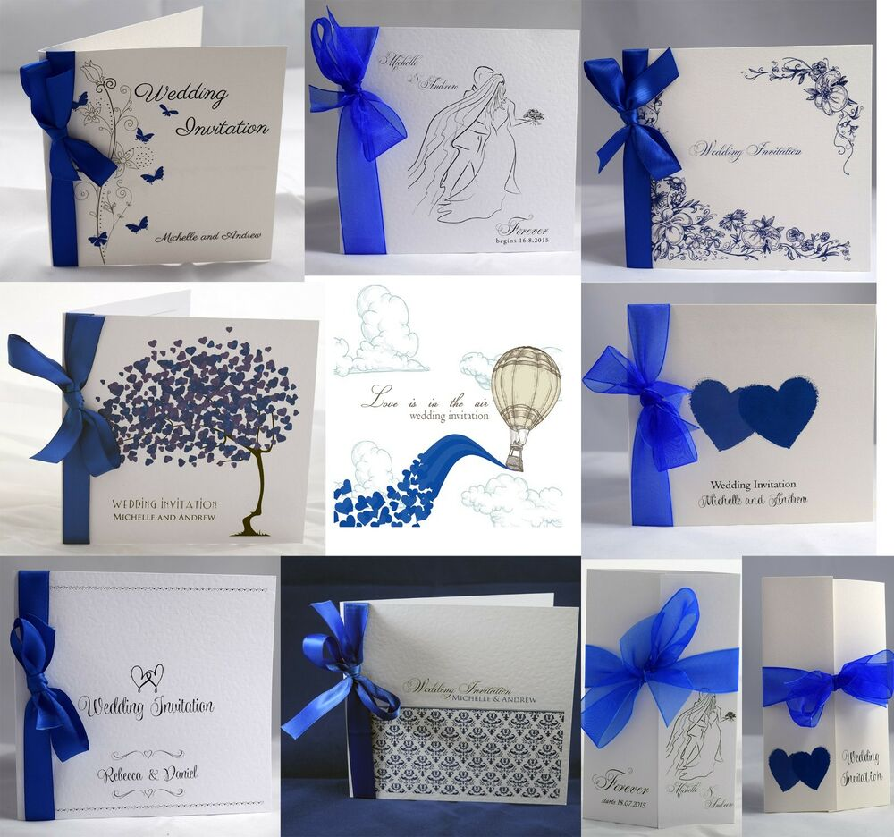 Royal Blue Wedding Invitations Personalised, ribbon, envelopes day ...