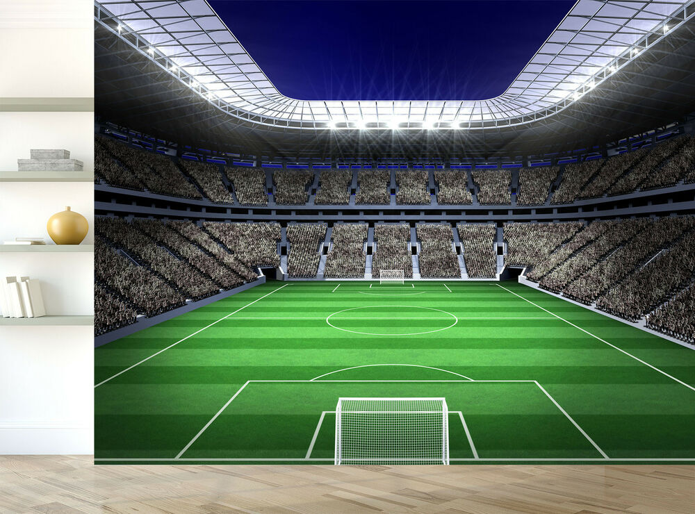 Football Wall Mural Football Stadium Photo Wallpaper Boys: Football Soccer Stadium Green Lights Wall Mural Photo