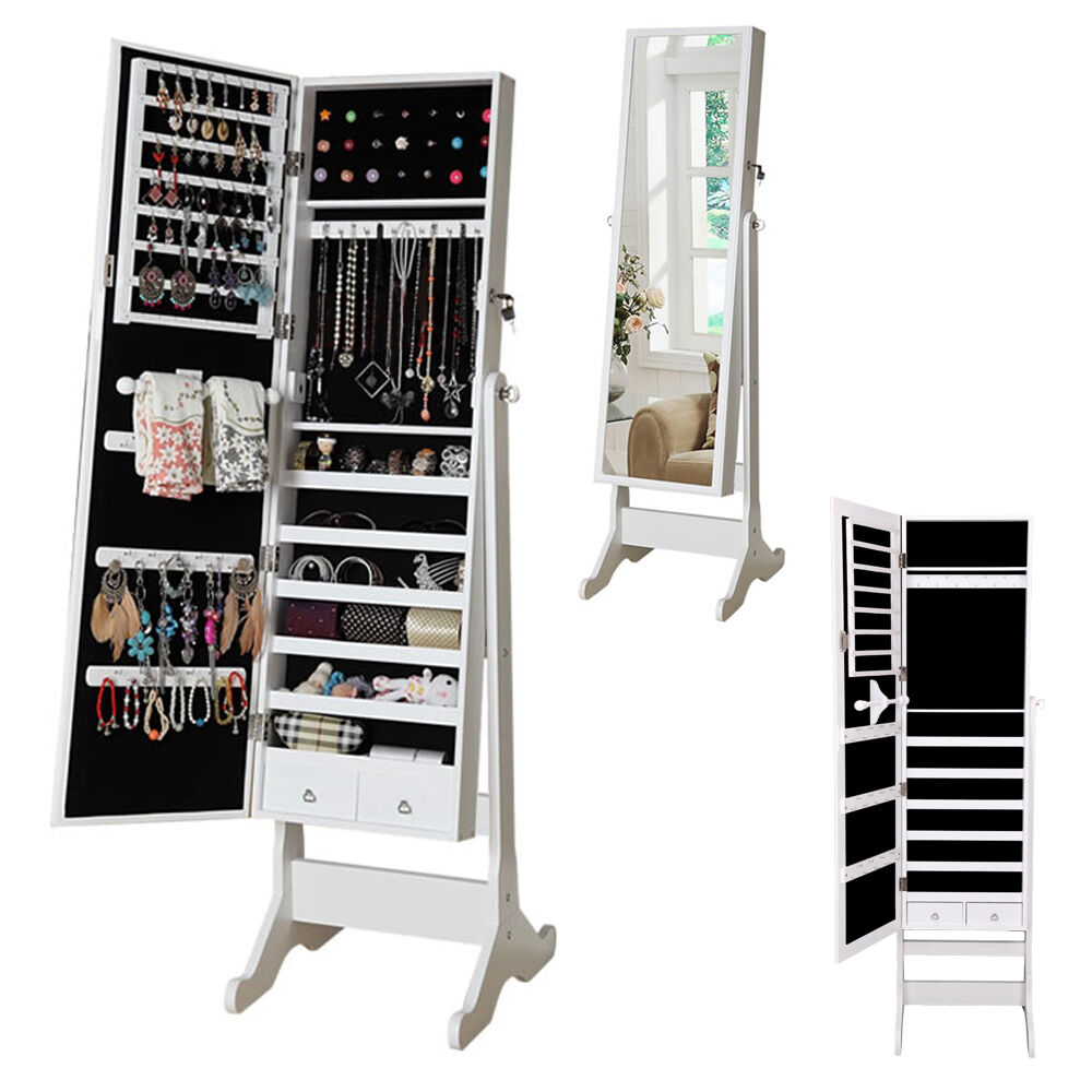 New Mirror Jewellery Cabinet Floor Standing Storage Box