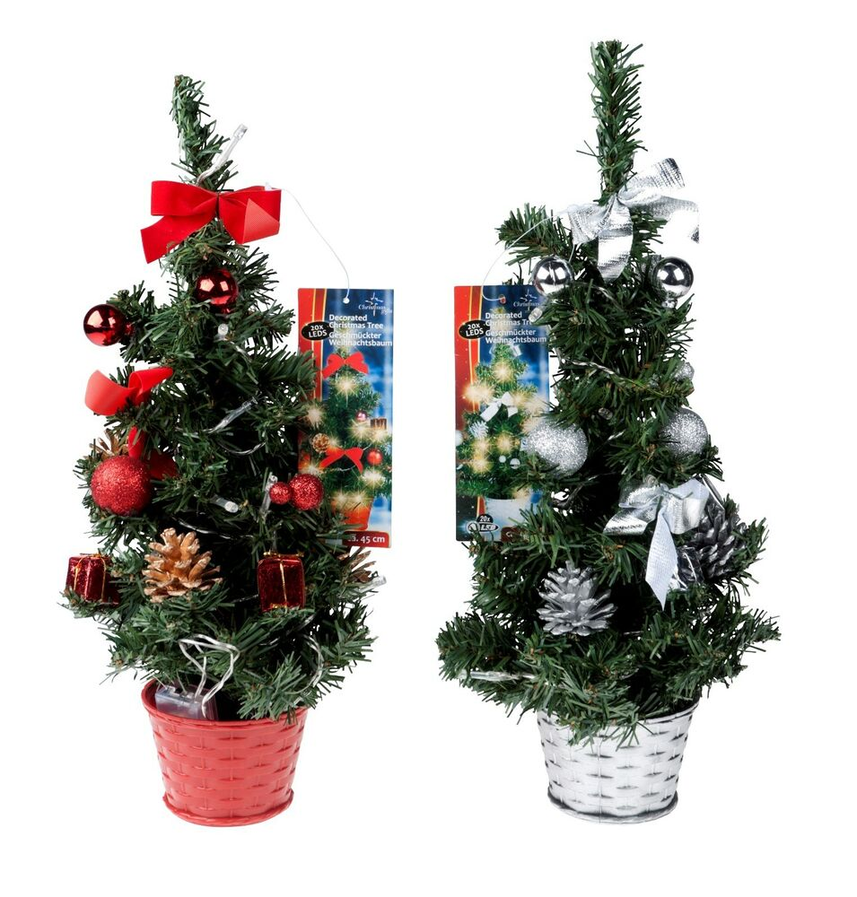 Pretty Christmas Trees: Pretty 45cm Mini Desk Top Table Top Decorated Christmas