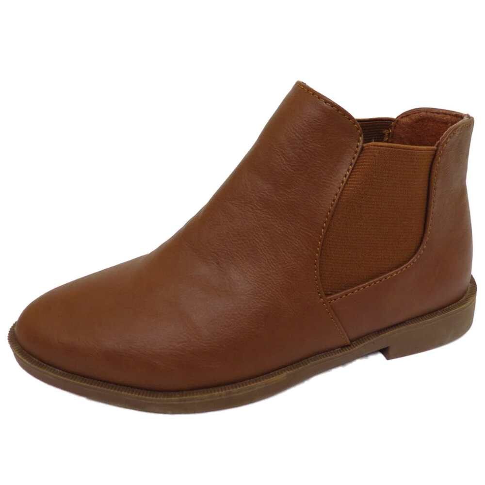 18351d98fc679 LADIES FLAT TAN PULL-ON BIKER ANKLE CHELSEA DEALER CASUAL BOOTS WORK SHOES 3-8    eBay