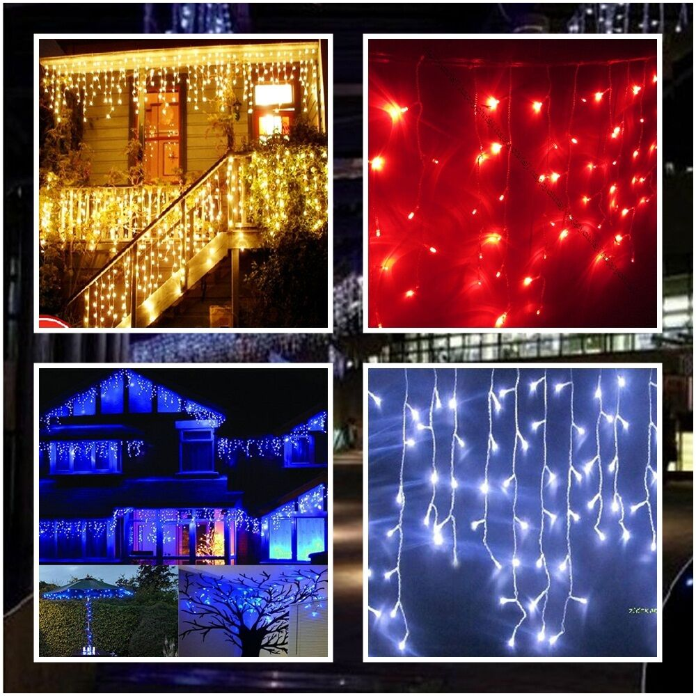 us ship led icicle light 3m 100 leds warm white blue red. Black Bedroom Furniture Sets. Home Design Ideas