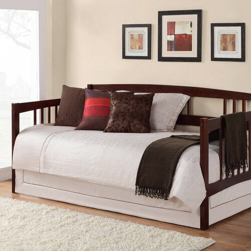 Brown twin size wood day bed home living room guest for What size bed for a 10x10 room