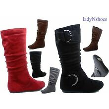 NEW Women's Comfort  Faux Suede Round Toe Flat Mid-Calf Boots Shoes Size