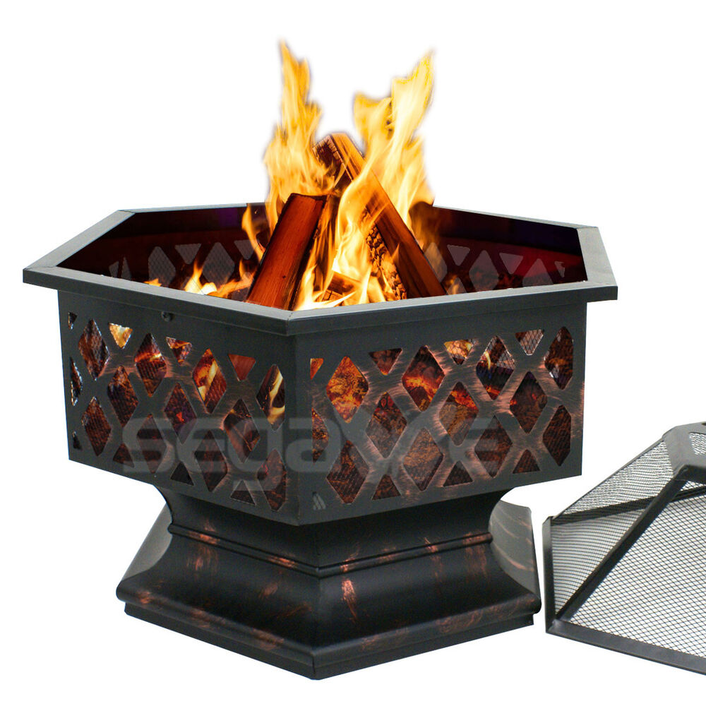 Fire Pit Hex Shaped Fireplace Outdoor Home Garden Backyard ... on Zeny 24 Inch Outdoor Hex Shaped Patio Fire Pit Home Garden Backyard Firepit Bowl Fireplace id=75406