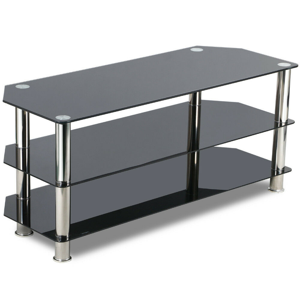 black glass tv stand chrome legs 3 tier storage shelves for 60 inch flat screens ebay. Black Bedroom Furniture Sets. Home Design Ideas
