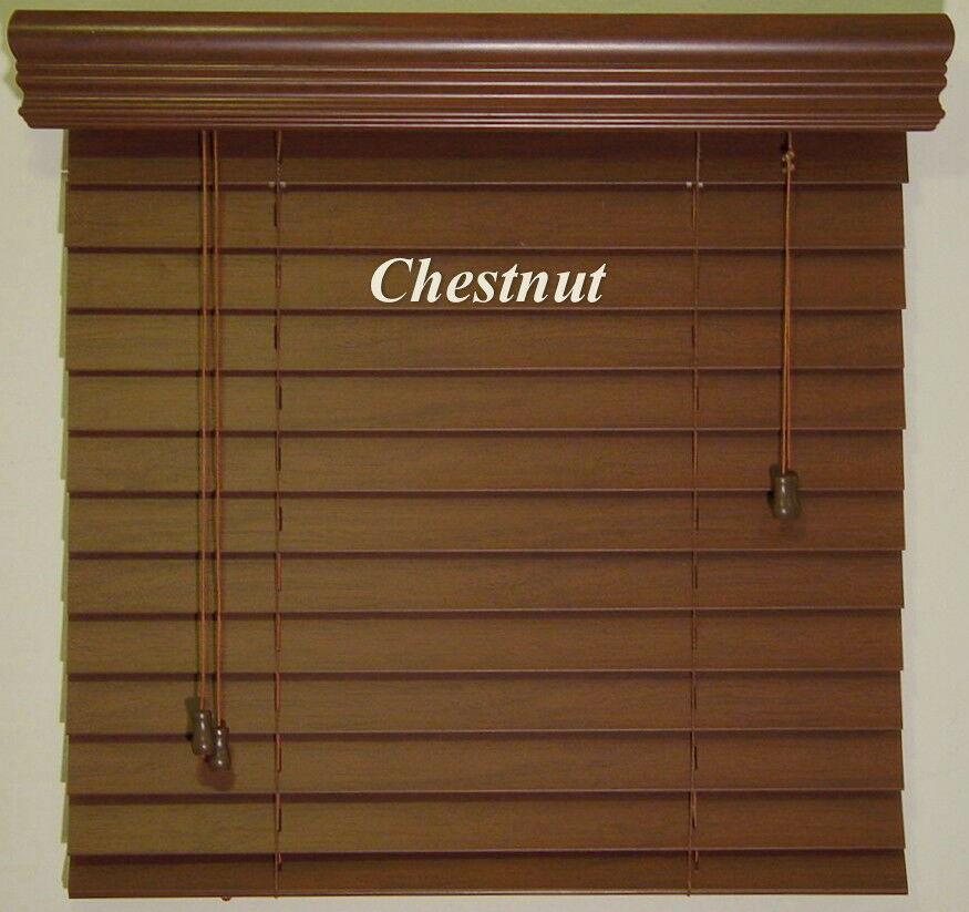 2 Quot Premium Stain S Faux Wood Window Blinds Size 64 Quot W