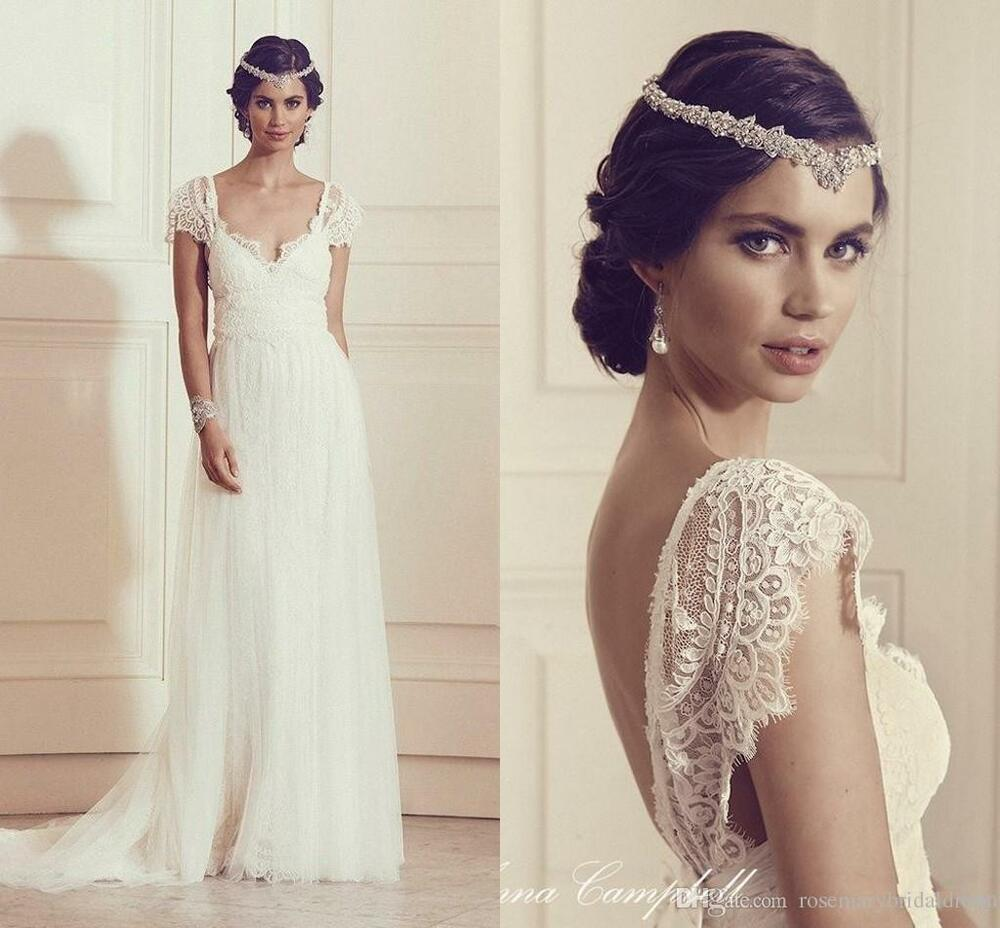 Laced Wedding Gowns: Long Simple Sexy V Back Lace Wedding Dresses Appliques