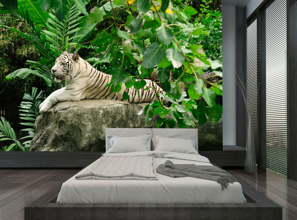 Jungle Green Nature White Tiger Wall Mural Photo Wallpaper