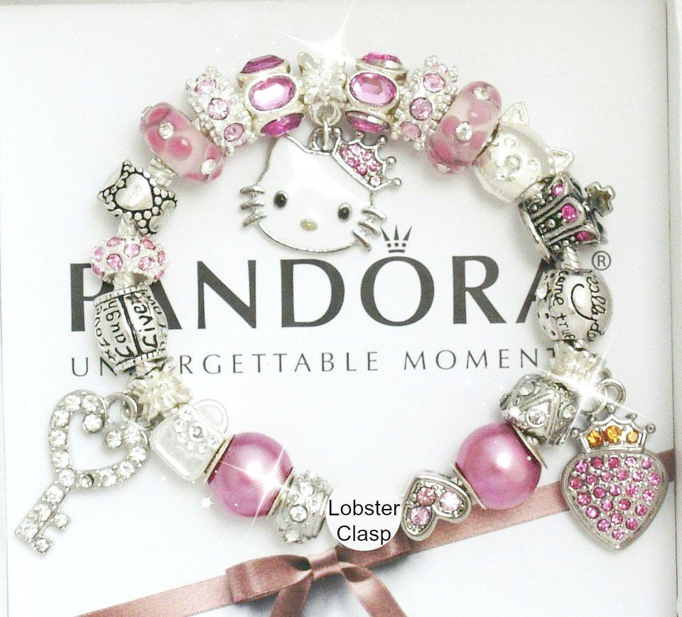 authentic pandora silver bracelet pink princess hello. Black Bedroom Furniture Sets. Home Design Ideas