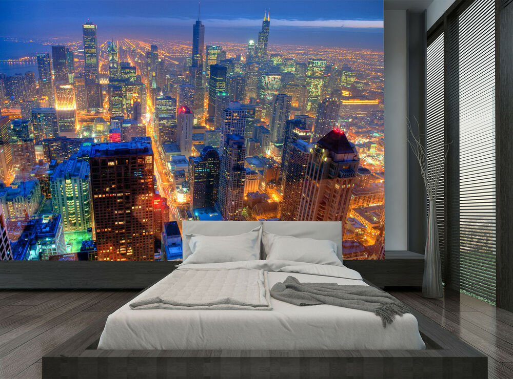 City buildings chicago skyline night wall mural photo for Chicago skyline mural wallpaper