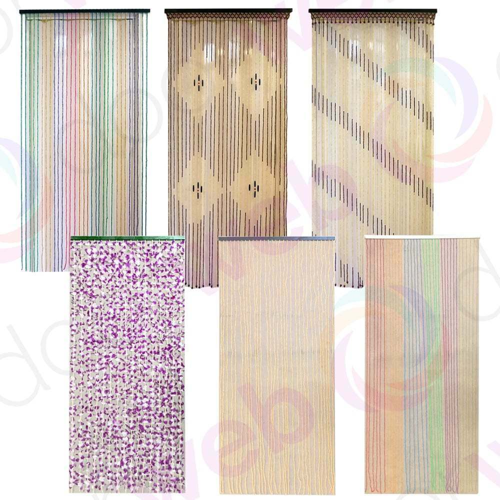 Beaded Door Curtain Wooden Bamboo String Curtains Beads