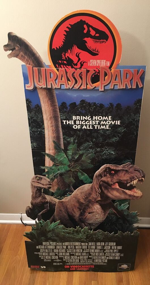 de colecci n jurassic park pel cula pantalla de cart n de pie 3d dinosaurios vhs promo ebay. Black Bedroom Furniture Sets. Home Design Ideas