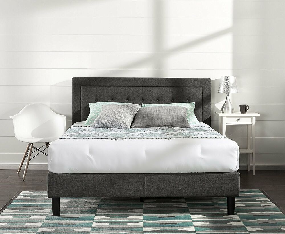 Upholstered bed frame queen full king size platform for King size headboard