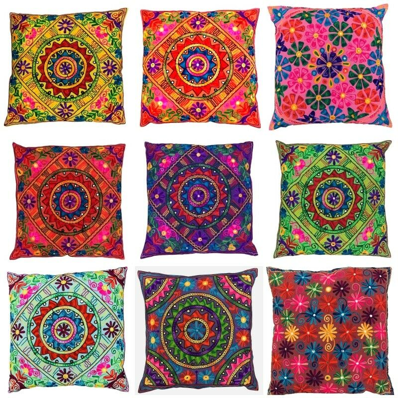 large indian suzani ethnic cushion cover covers embroidery. Black Bedroom Furniture Sets. Home Design Ideas