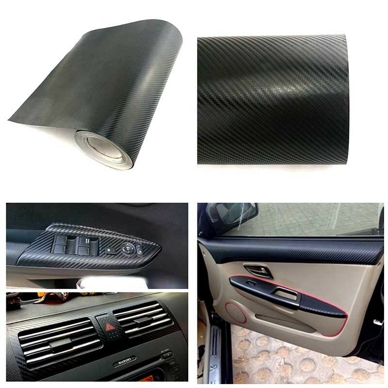 3d car interior accessories panel black carbon fiber vinyl wrap sticker 100 38cm ebay. Black Bedroom Furniture Sets. Home Design Ideas