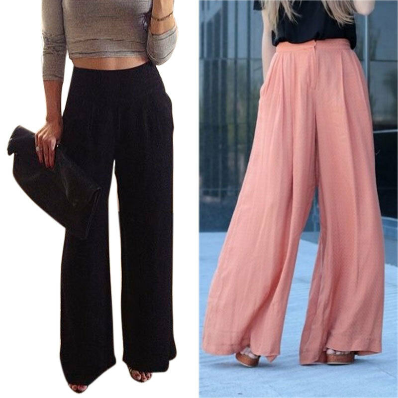 Women Trousers Solid Palazzo Wide Leg High Waist Long ...