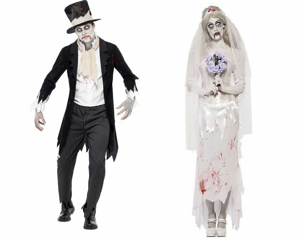 Zombie Wedding Gifts: ZOMBIE GHOST BRIDE AND GROOM FANCY DRESS HALLOWEEN COUPLES