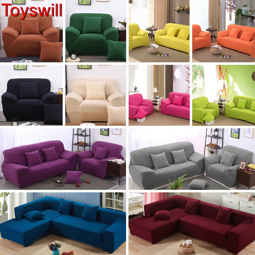 1 2 3 4 seater l shape stretch chair loveseat sofa couch protect cover slipcover ebay. Black Bedroom Furniture Sets. Home Design Ideas