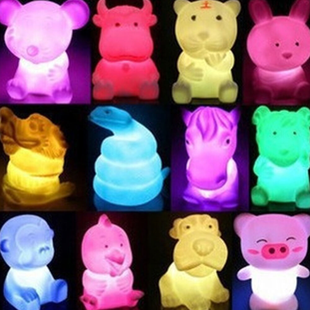 Cute Animal Shaped LED 7 Color Changing Night Light Lamp