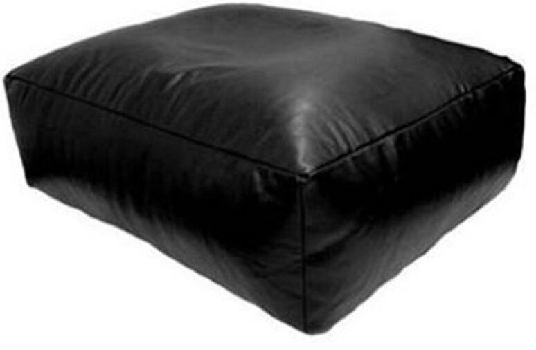 kaikoo faux leather black bean bag slab bean bag slab chair 65cm x 65cm ebay. Black Bedroom Furniture Sets. Home Design Ideas