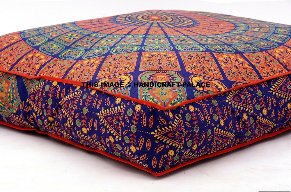 Floor Pillow Covers 25x25 : Large Indian Meditation Floor Pillow Cover 35