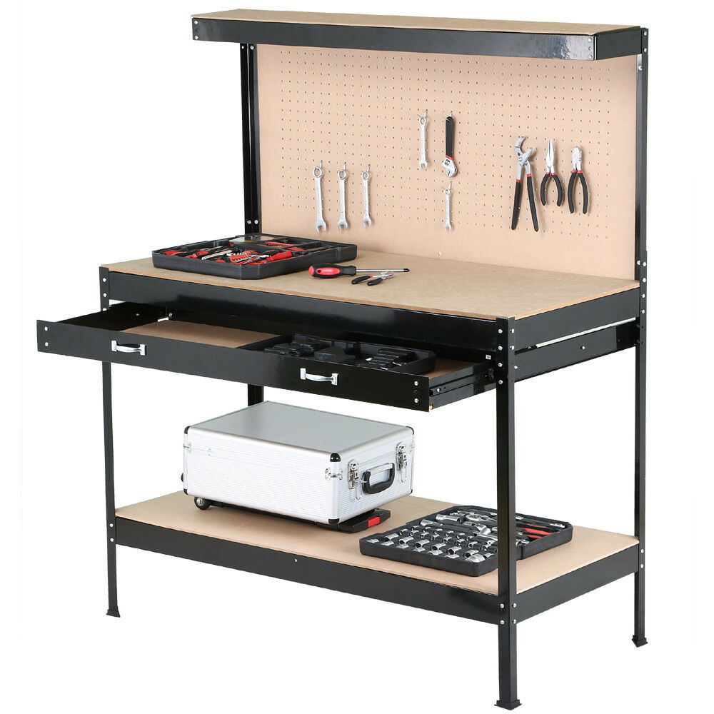 work bench tool storage steel frame tool workshop table w. Black Bedroom Furniture Sets. Home Design Ideas