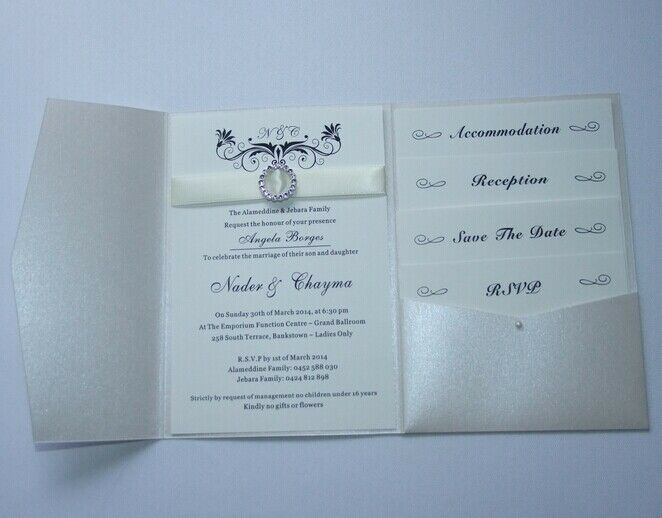 Photo Pocket Wedding Invitations: Pearl Ivory Pocketfold Wedding Invitations. DIY Pocket