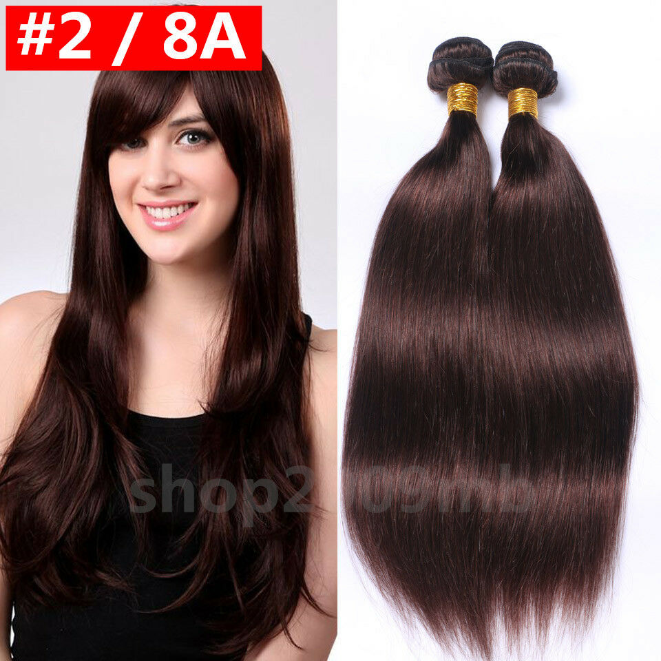 8a Brazilian Virgin Human Hair Straight Bundles Dark Brown