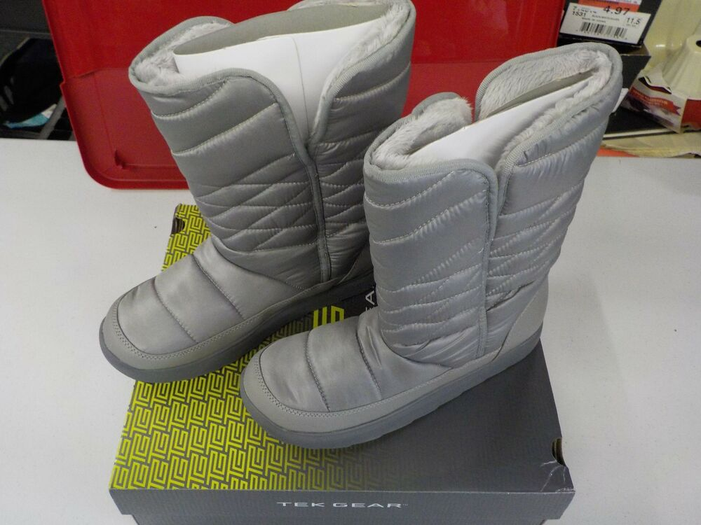 Womens Size 10 Tek Gear Venus Silver Winter Boots Pull On