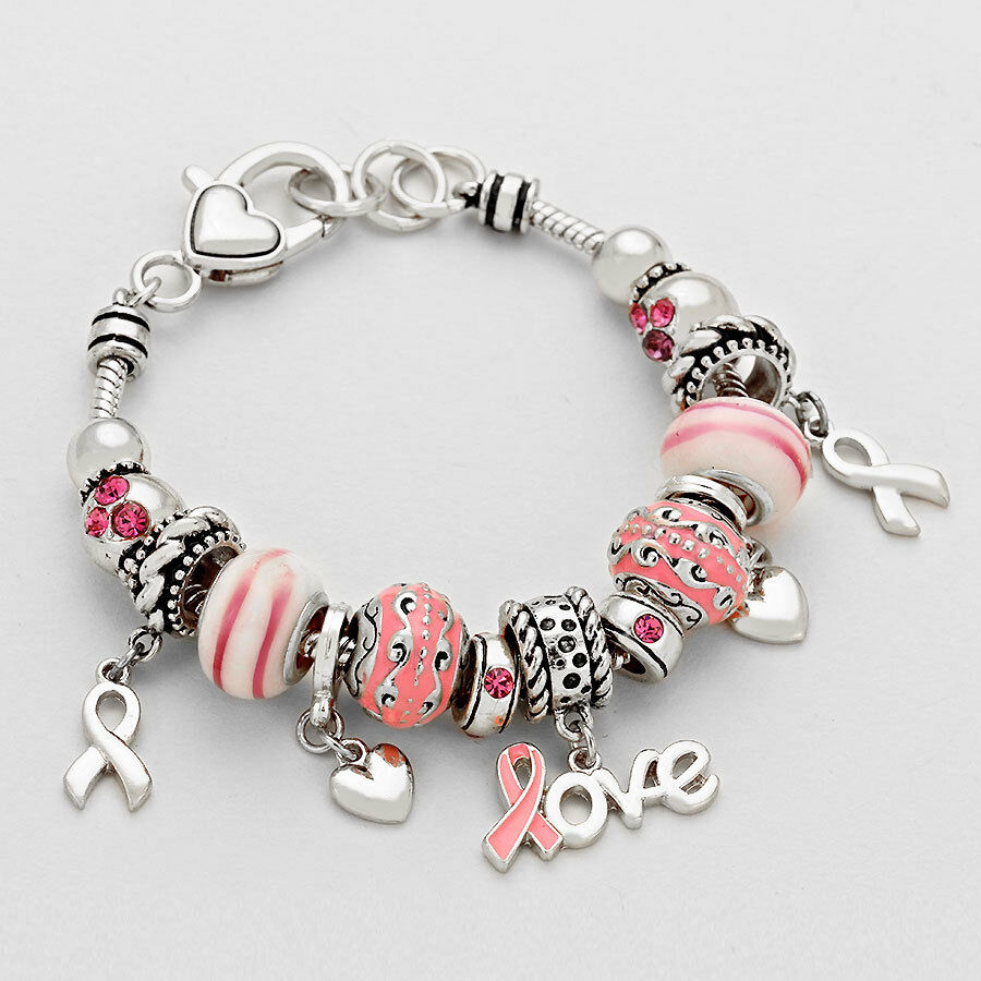 Breast Cancer Awareness Pink Ribbon Charm Bracelet Beaded