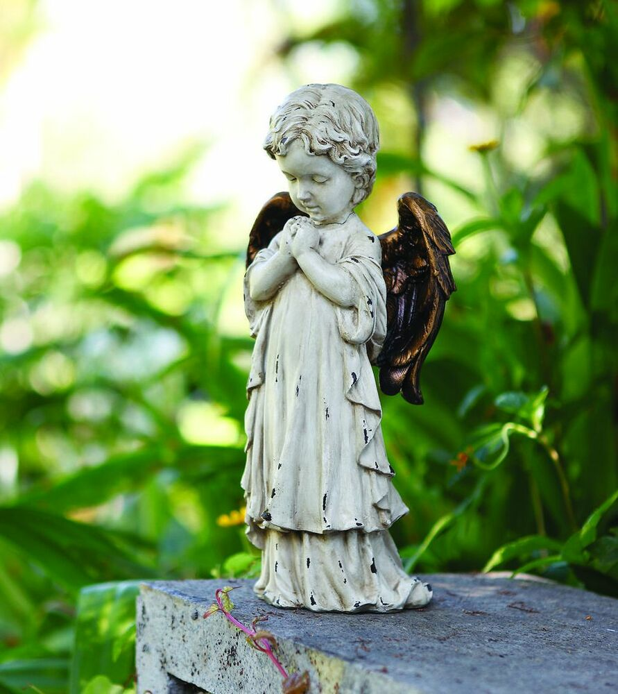 Small Angel Statues For Graves: Bronze Wings Praying Child Angel Cherub Home Garden Statue