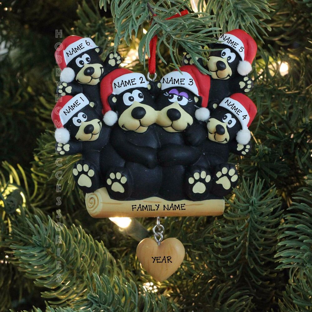 Black Bear Family of 6 Personalized Christmas Tree ...
