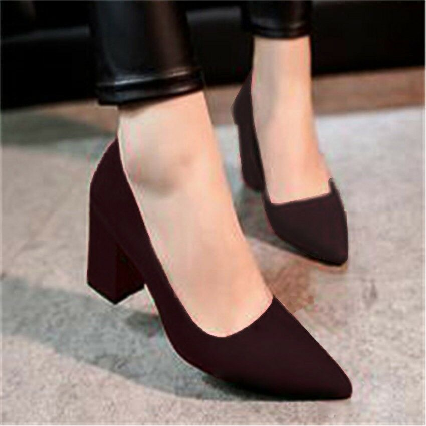 Solid Mid Block Heels Evening Dress Prom Pumps Formal Shoes For Women Black