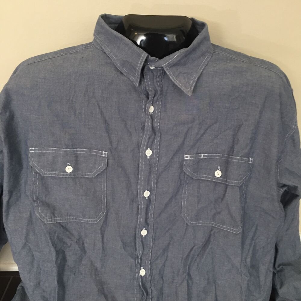 Key imperial mens blue grey long sleeve button down work for Black long sleeve work shirt