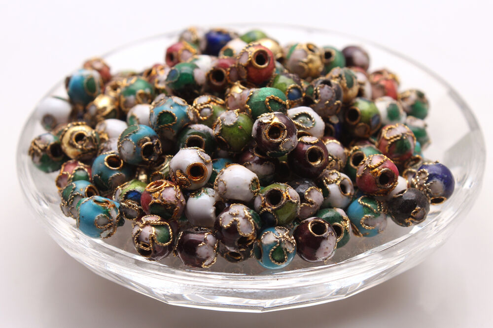 wholesale cloisonne enamel round ball spacer loose beads