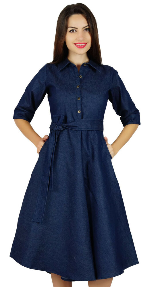 Bimba womens blue denim shirt dress with pockets 3 4 for Blue denim shirt for womens