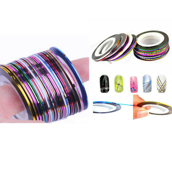 Nail Art Tape Strips: 30 Rolls Mix Color Nail Art Tape Lace Line Strips Design