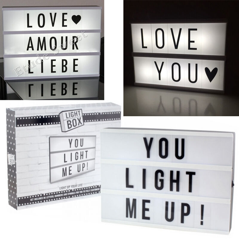 a4 light up letter box cinematic led sign wedding party cinema plaque shop new