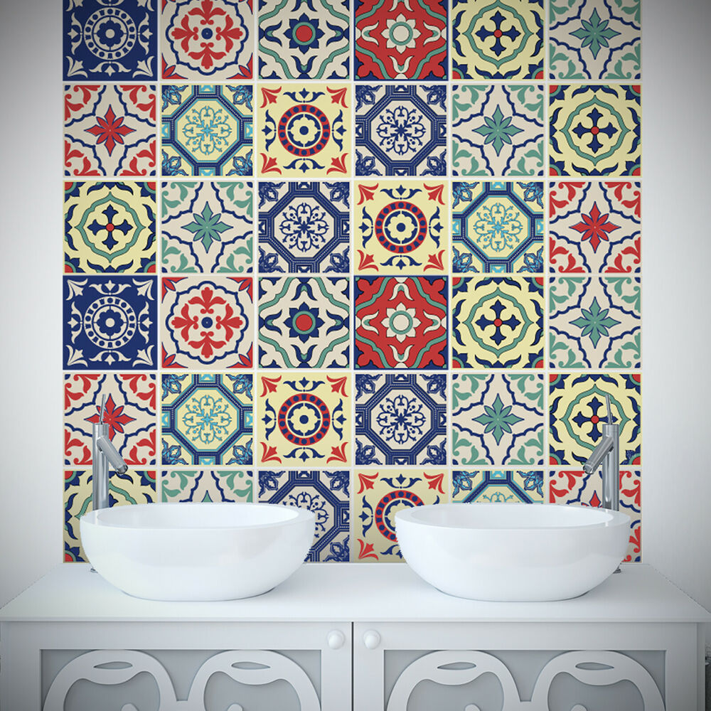 Tile Stickers Transfer Traditional Kitchen Bathroom Custom ...