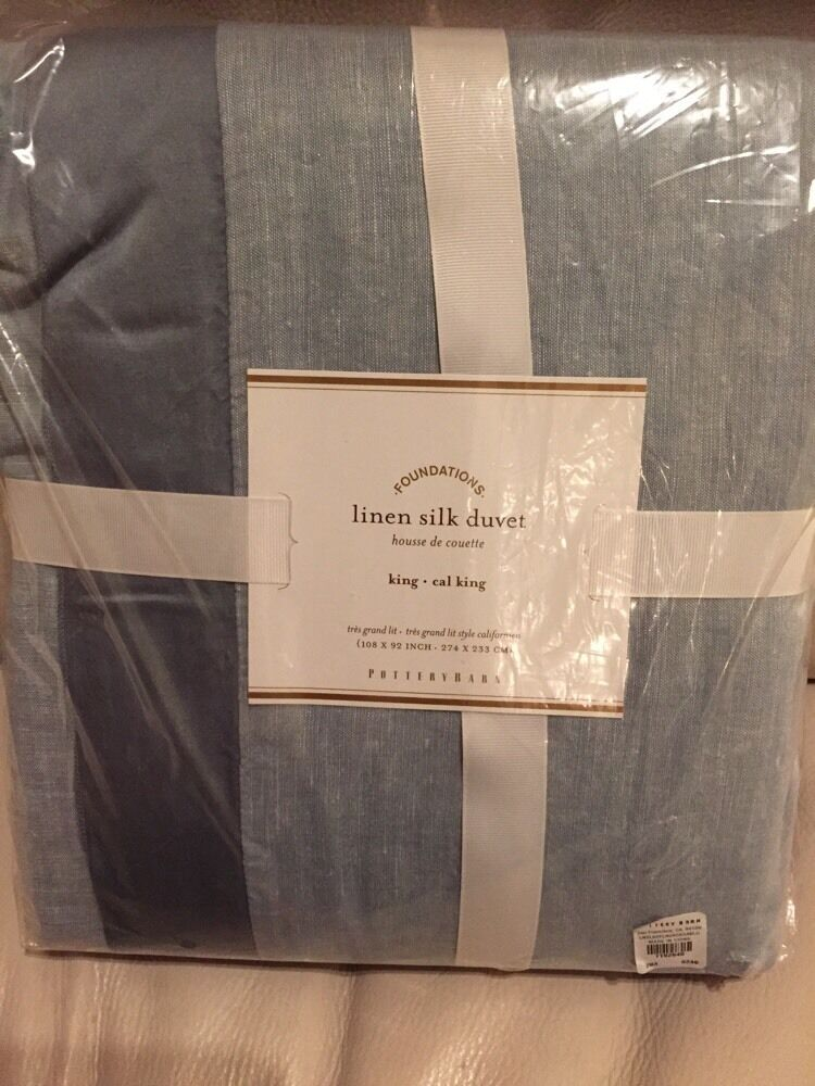 30b6b6c13e817 Details about Pottery Barn Ashley Blue Linen With Silk Trim Cal King Duvet  Cover w 1 King Sham